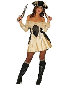 Kostuum gouden piraat voor vrouwen
